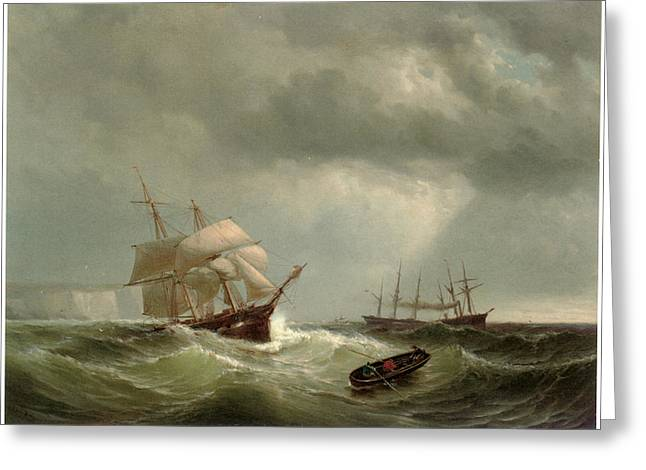 Ship Rough Sea Greeting Cards - Merchant Shipping off Dover Greeting Card by Mauritz Frederick Hendrick de Haas