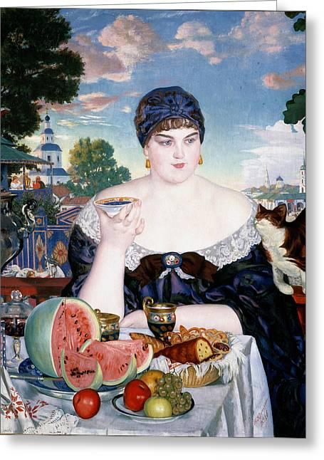 Watermelon Greeting Cards - Merchants Wife at Tea Greeting Card by Boris Kustodiev