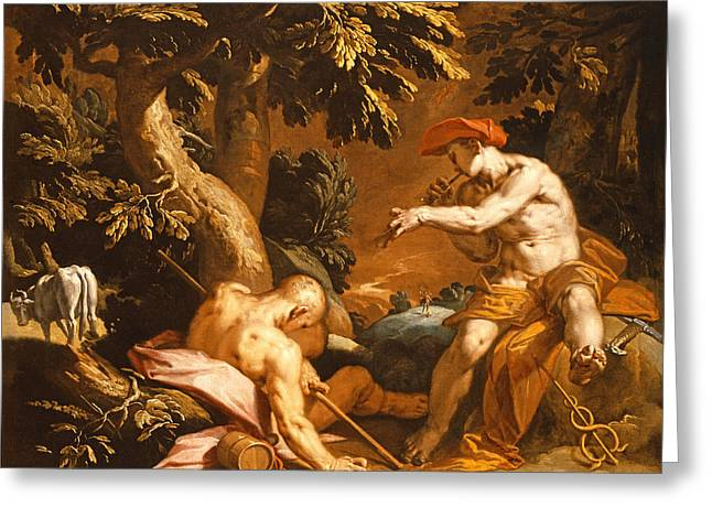 Send Greeting Cards - Mercury And Argus Oil On Canvas Greeting Card by Abraham Bloemaert