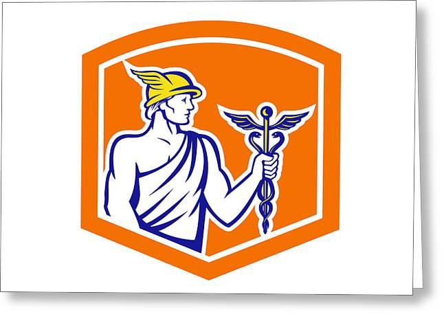 Holding Staff Greeting Cards - Mercury Holding Caduceus Staff Shield Retro Greeting Card by Aloysius Patrimonio
