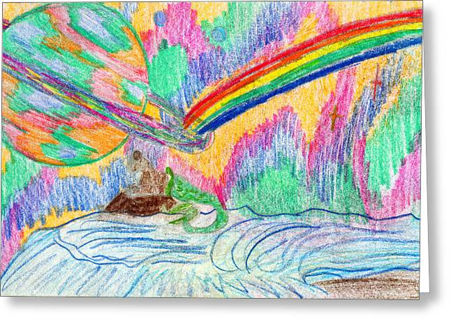 Dolphin Drawings Greeting Cards - Neon Light Greeting Card by Kd Neeley
