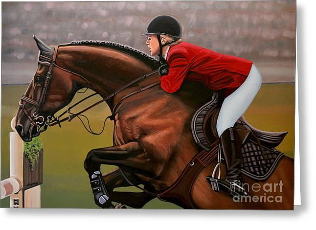 Famous Athletes Greeting Cards - Meredith Michaels Beerbaum Greeting Card by Paul Meijering