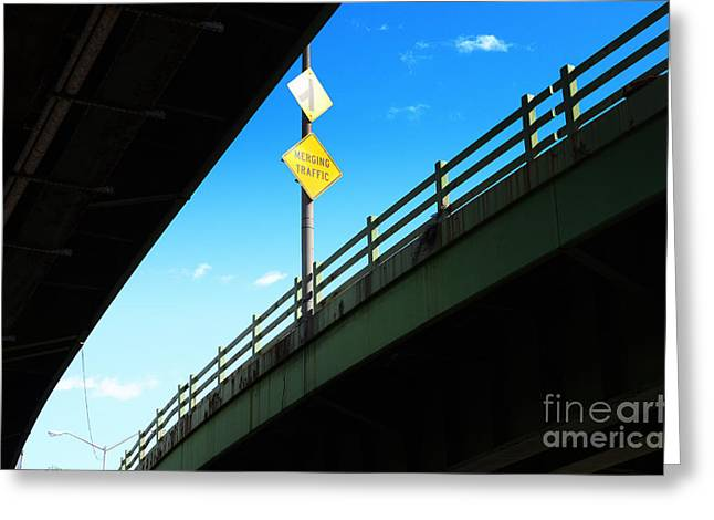 Merging Greeting Cards - Merge Traffic on Highway Bridge Bronx New York City Greeting Card by Sabine Jacobs