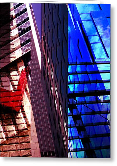 Merging Greeting Cards - Merged - City Blues Greeting Card by Jon Berry