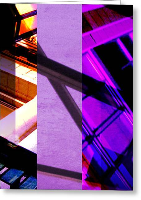 Merging Greeting Cards - Merged - Purple City Greeting Card by Jon Berry