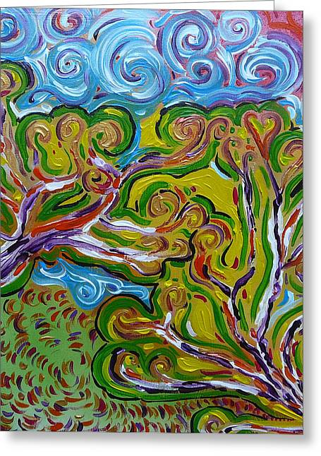 Merging In The Trees Greeting Card by Gioia Albano