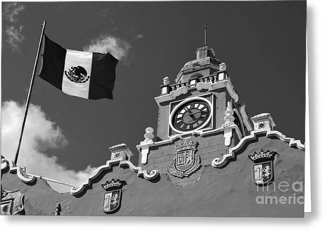 Landmarks Photographs Greeting Cards - Merida Yucatan Mexico Palacio Municipal City Hall and Flag Exterior Main Square Black and White Greeting Card by Shawn O