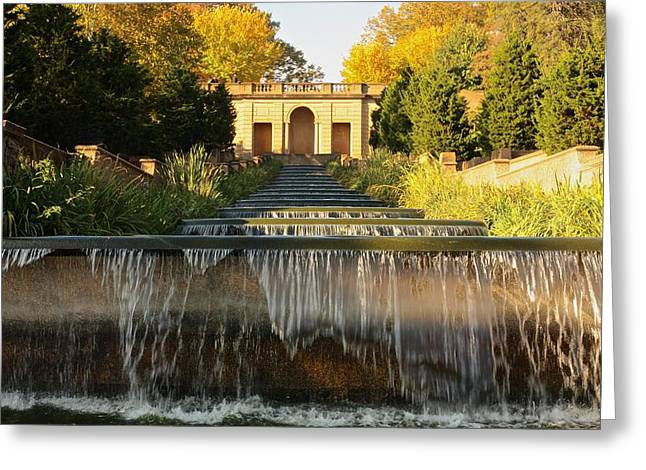 Beautiful Creek Greeting Cards - Meridian Hill Park Waterfall Greeting Card by Stuart Litoff
