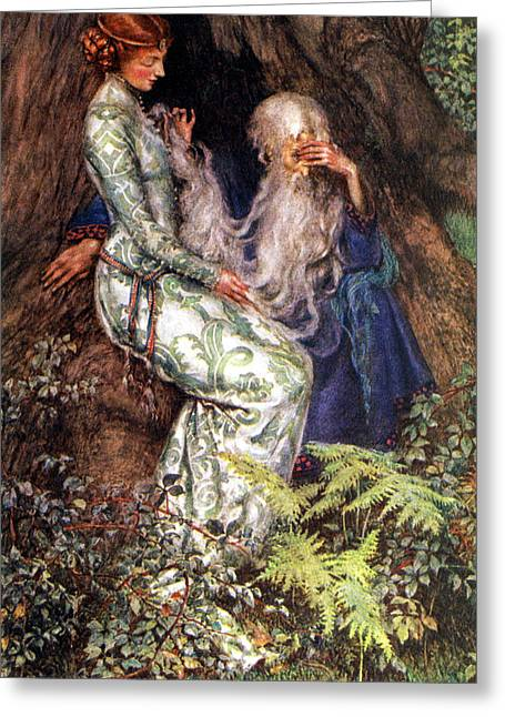 Old Masters Greeting Cards - Merlin and Vivien Greeting Card by Eleanor Fortescue Brickdale