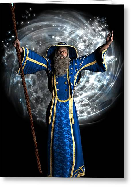 Purple Robe Greeting Cards - Merlin Wizard Greeting Card by Todd and candice Dailey