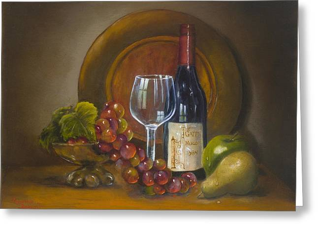 Fruit And Wine Greeting Cards - Merlot at C Gate Greeting Card by Cynthia Barrow