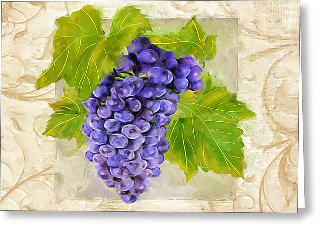Bread And Wine Art Greeting Cards - Merlot II Greeting Card by Lourry Legarde