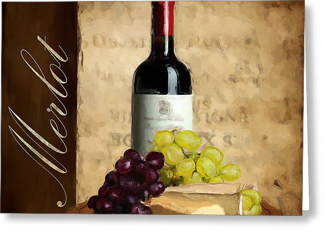 Purple Grapes Paintings Greeting Cards - Merlot III Greeting Card by Lourry Legarde