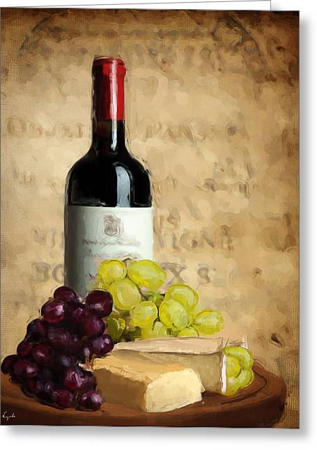 Bread And Wine Art Greeting Cards - Merlot IV Greeting Card by Lourry Legarde