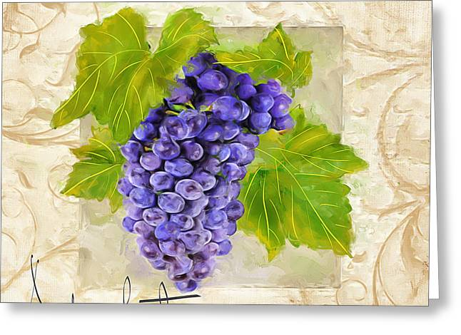 Purple Grapes Paintings Greeting Cards - Merlot Greeting Card by Lourry Legarde
