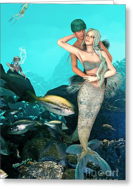 Under The Sea Mermaid Greeting Cards - MerLove Greeting Card by Methune Hively