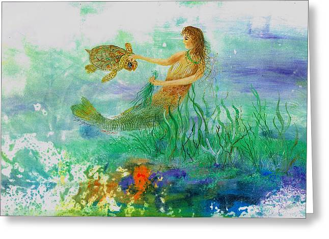 Under The Sea Mermaid Greeting Cards - Mermaid And Baby Loggerhead Turtle Greeting Card by Nancy Gorr