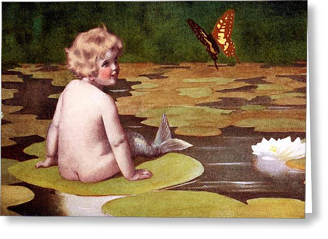 Recently Sold -  - White Paintings Greeting Cards - Baby Mermaid and Butterfly on Lily Pond - At the Beach America Greeting Card by Private Collection