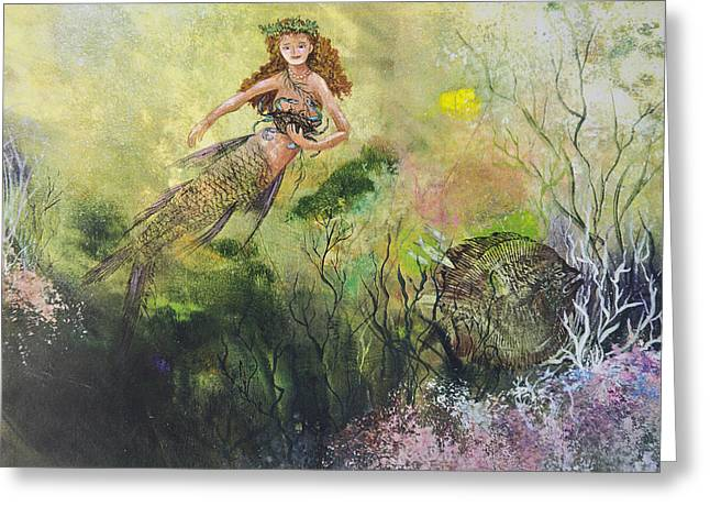 Mermaid And Friends Greeting Card by Nancy Gorr
