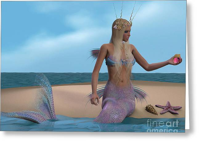 Seashell Picture Greeting Cards - Mermaid and Seashells Greeting Card by Corey Ford