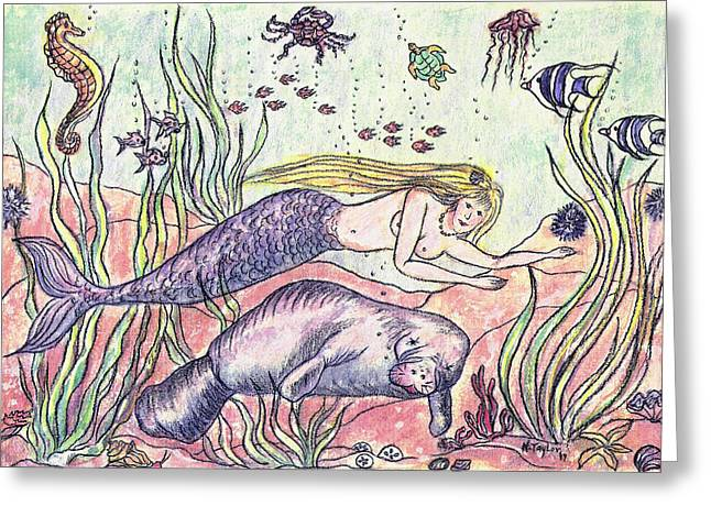 Recently Sold -  - Angel Mermaids Ocean Greeting Cards - Mermaid and the Manatee Greeting Card by N Taylor