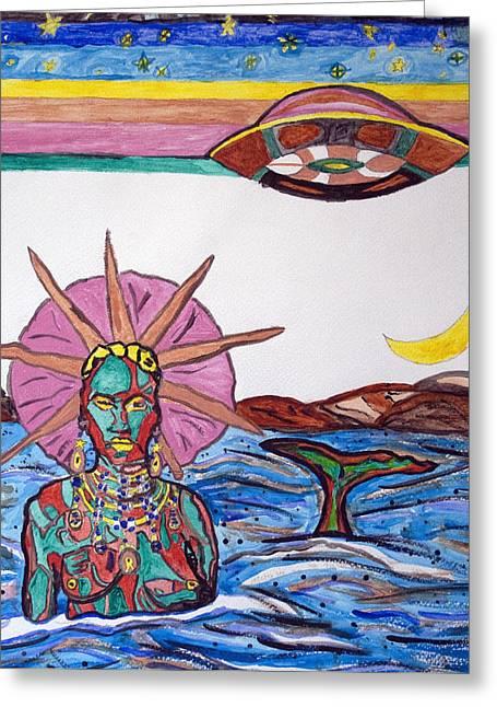 Yemoja Ufo  Greeting Card by Stormm Bradshaw