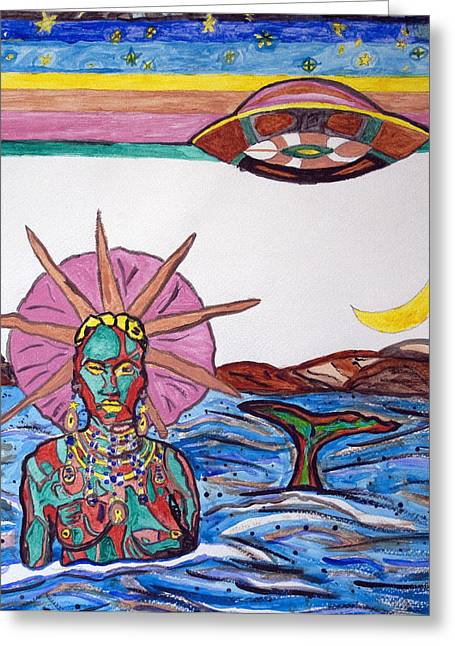 Orishas Greeting Cards - Yemoja Ufo  Greeting Card by Stormm Bradshaw