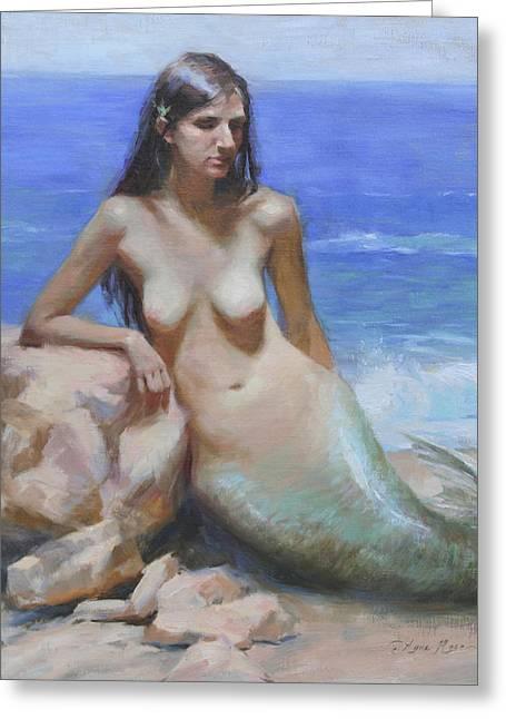 Mermaid Greeting Card by Anna Rose Bain