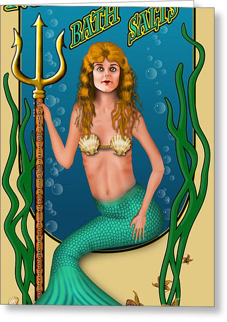 Michelangelo Greeting Cards - Mermaid Bath Salts Greeting Card by Troy Brown