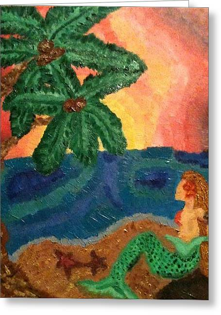 Kelpie Paintings Greeting Cards - Mermaid Beach Greeting Card by Oasis Tone