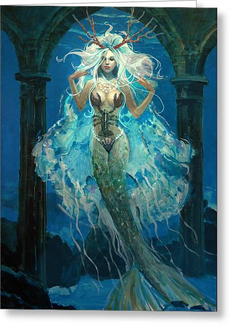 Flowing Hair Greeting Cards - Mermaid Bride Greeting Card by Bill Mather