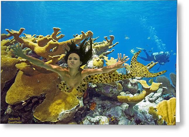 Angel Mermaids Ocean Greeting Cards - Mermaid Camoflauge Greeting Card by Paula Porterfield-Izzo