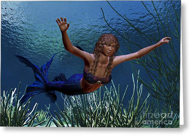 Swimmers Digital Greeting Cards - Mermaid Greeting Card by Corey Ford