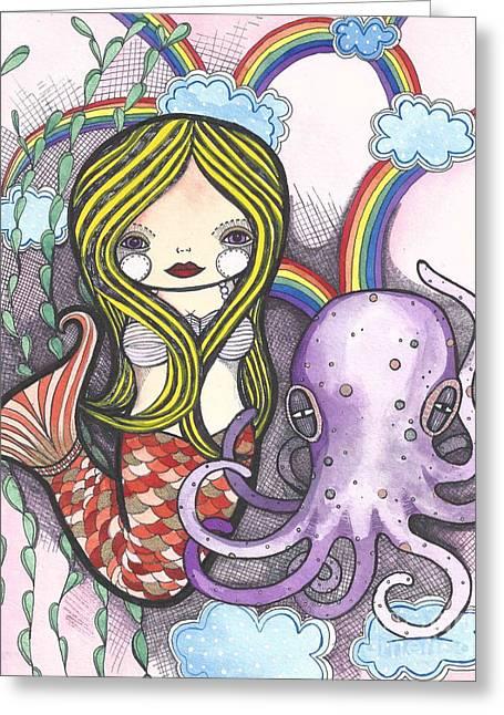 St Petersburg Florida Paintings Greeting Cards - Mermaid Dreaming Greeting Card by Jennifer Kosharek