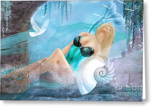 Rosyhall Greeting Cards - Mermaid Dreaming Greeting Card by Rosy Hall