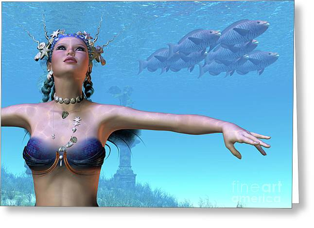 Swimmers Digital Greeting Cards - Mermaid Dreams Greeting Card by Corey Ford