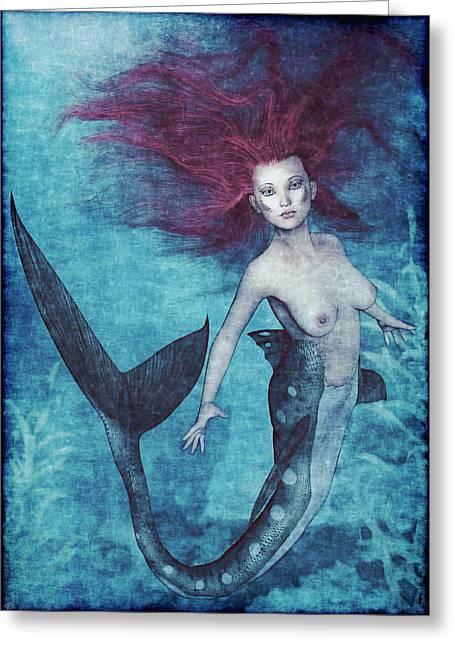 Floating Girl Greeting Cards - Mermaid Dreams Greeting Card by Maynard Ellis