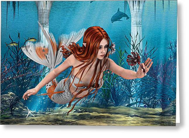 Floating Girl Greeting Cards - Mermaid holding Sea Lily Greeting Card by Design Windmill
