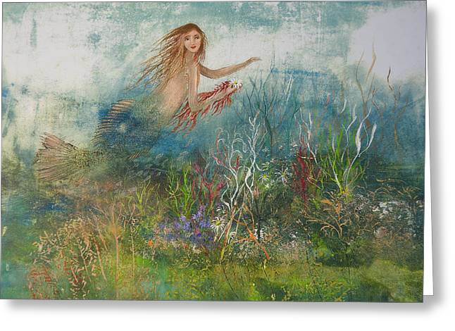 Nancy Gorr Greeting Cards - Mermaid In A Sea Garden Greeting Card by Nancy Gorr