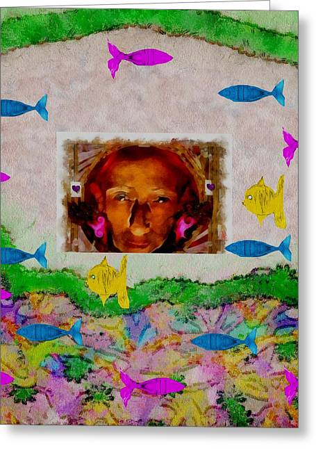 Abstract Seascape Mixed Media Greeting Cards - Mermaid in her cave Greeting Card by Pepita Selles