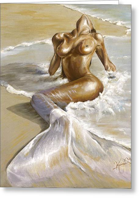 Ocean Shore Paintings Greeting Cards - Mermaid Greeting Card by Karina Llergo Salto