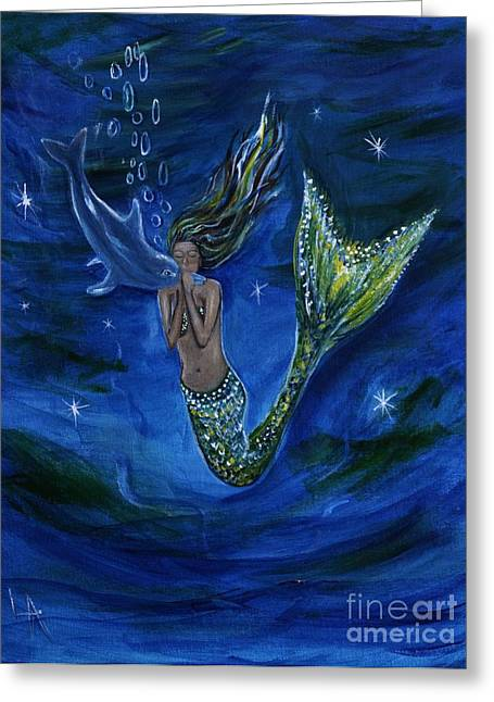 Under The Sea Mermaid Greeting Cards - Mermaid Kissing Baby Dolphin Greeting Card by Leslie Allen