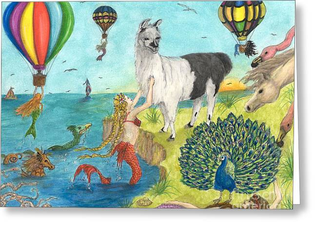 Recently Sold -  - Sailboat Art Greeting Cards - Mermaid Llama Peacock Hot Air Balloons Peek Art Greeting Card by Cathy Peek