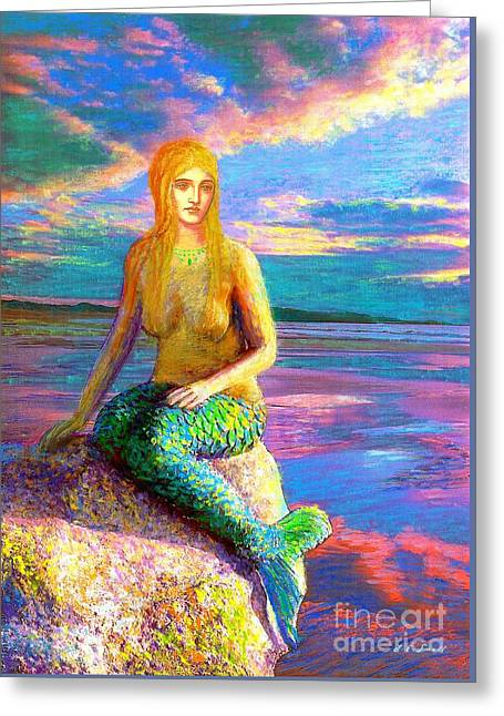 Calm Paintings Greeting Cards - Mermaid Magic Greeting Card by Jane Small