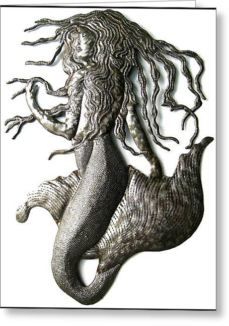 Mermaids Sculptures Greeting Cards - Mermaid Metal Wall Hanging - Haitian Steel Drum Art  Greeting Card by Elius