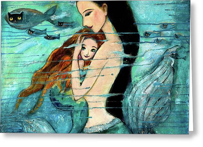 Seascape Art Greeting Cards - Mermaid Mother and Child Greeting Card by Shijun Munns