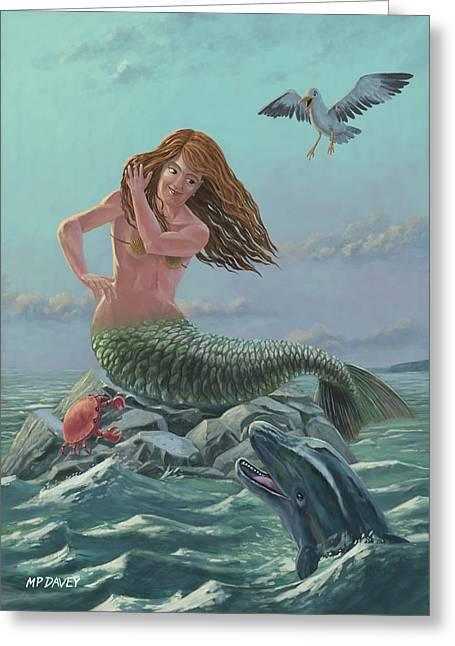 Fantasy Creature Digital Greeting Cards - Mermaid On Rock Greeting Card by Martin Davey