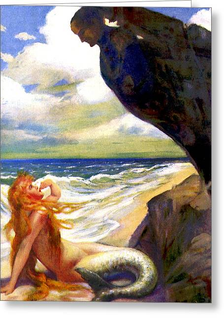 Wooden Ship Drawings Greeting Cards - Mermaid on the Beach - At the Beach America Greeting Card by Private Collection
