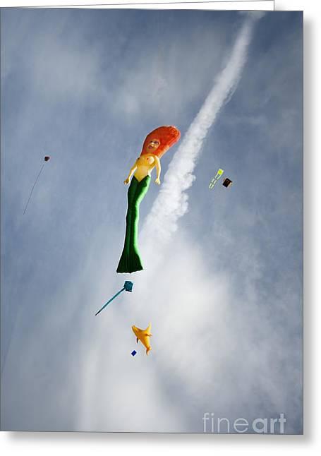 Mermaid On The Sky Greeting Card by Angel  Tarantella