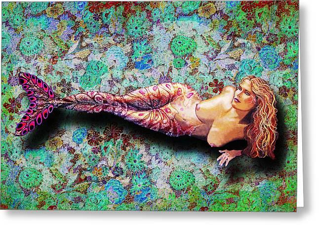 Debbie Chamberlin Greeting Cards - Mermaid Paisley Greeting Card by Debbie Chamberlin